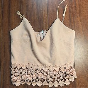 NWOT LIGHT PINK CAMI CROP STRAPPED TOP with LACE